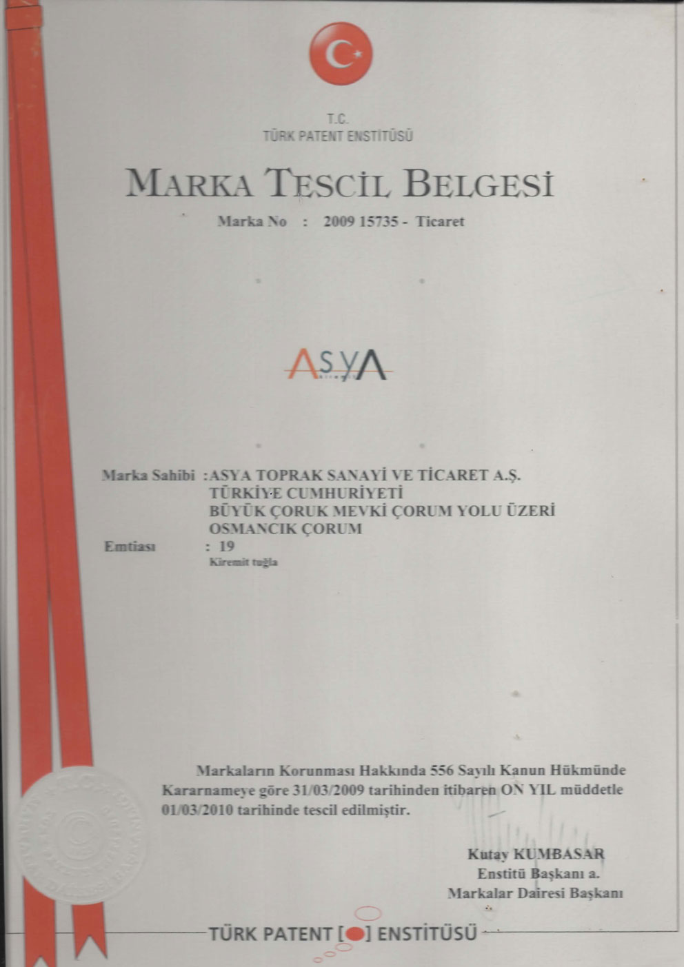 ASYA TOPRAK Marka Tescili